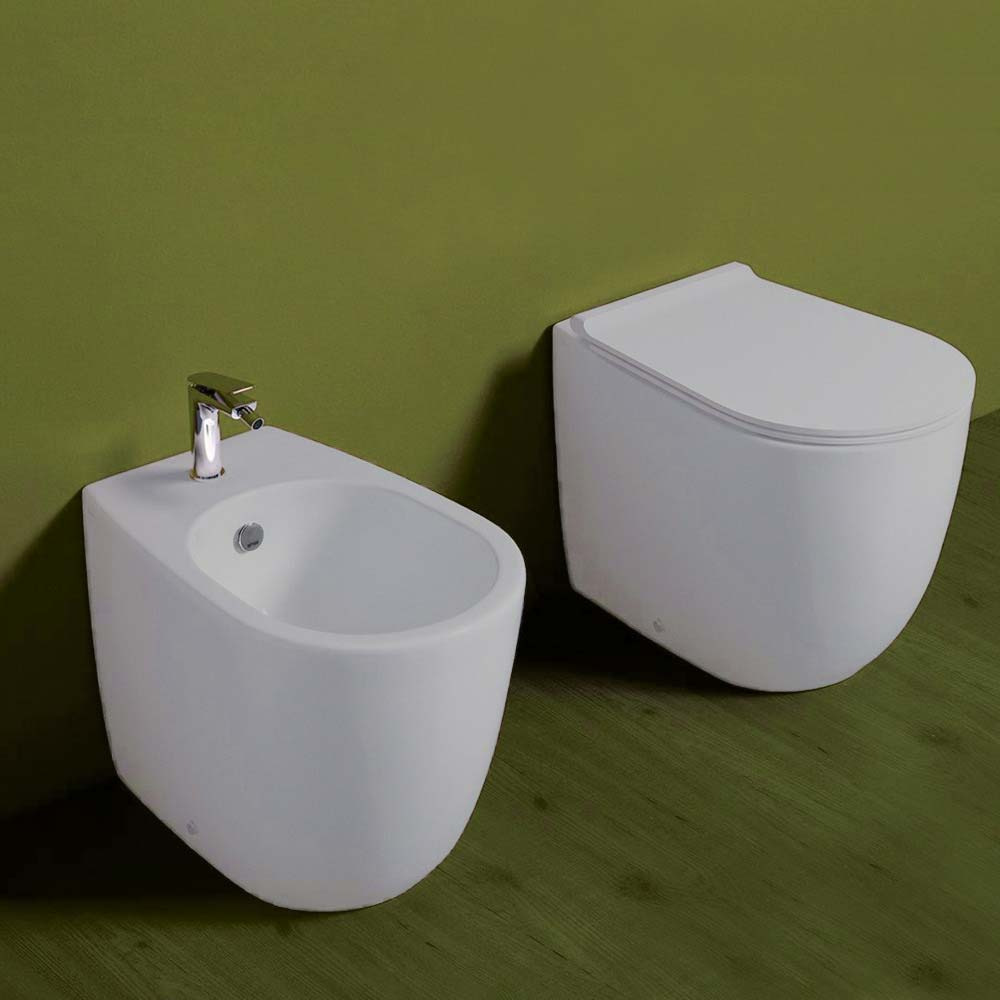 Vignoni sanitari filomuro vaso bidet sedile slim soft close bianco matt.
