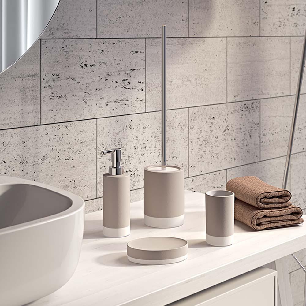 Composizione Del Colore Tortora kit 4 pezzi accessori bagno da appoggio tortora gedy g-new mizar | miroma  ceramiche e arredo bagno