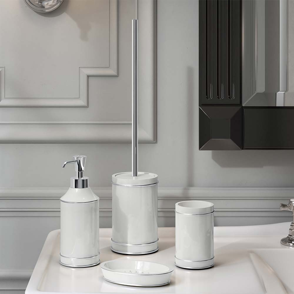 Accessori Per Bagno In Ceramica.Kit 4 Pezzi Accessori Bagno Da Appoggio Gedy G Olimpia Bianco Argento Miroma Ceramiche E Arredo Bagno