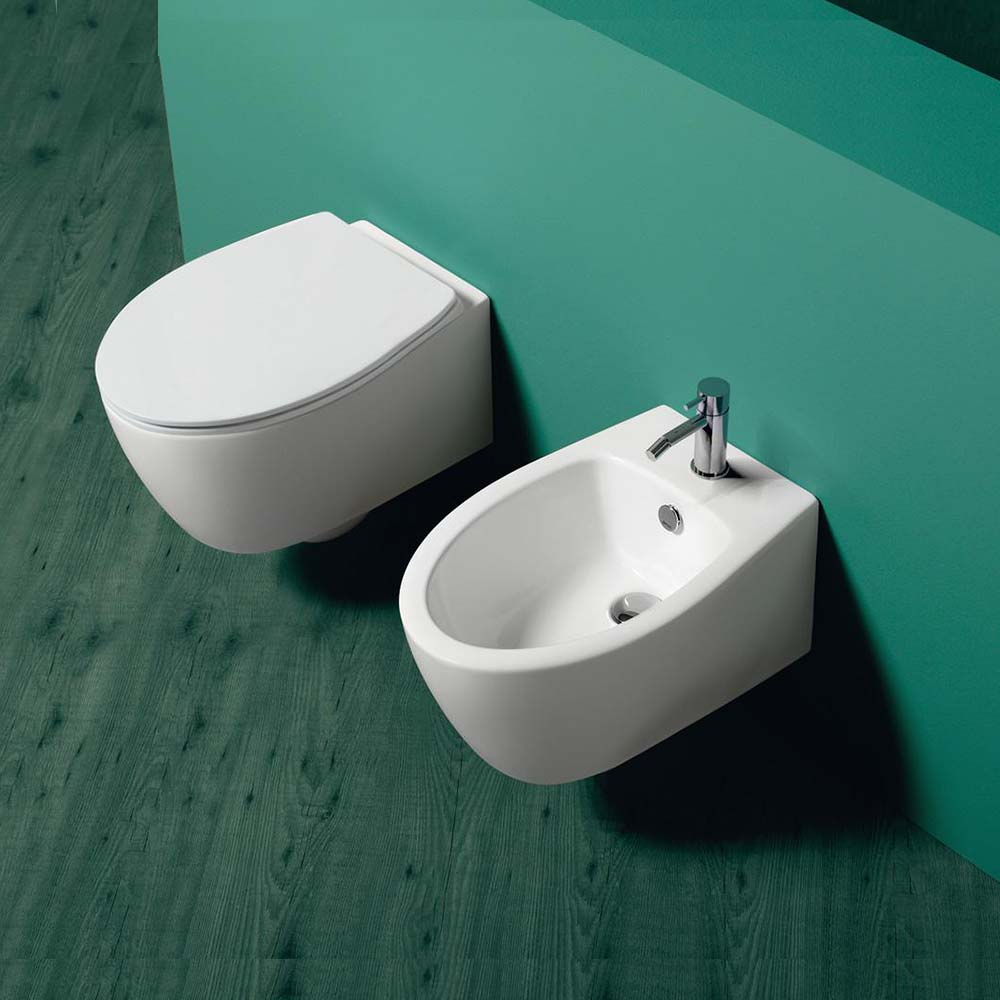 Lft spazio sanitari sospesi vaso rimless bidet sedile slim soft close.